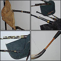 Top left, clockwise: A Bulgarian bagpipe; Scottish small and border pipes; Welsh pipcorn pipe and English Northumbrian pipe