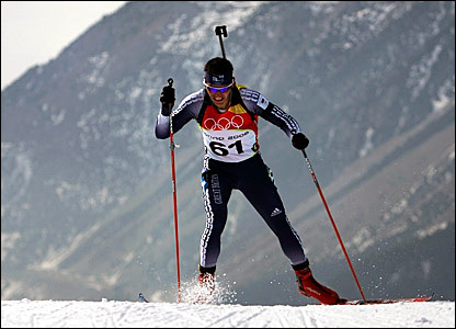 Great Britain's Tom Clemens competing in the 10km biathlon event