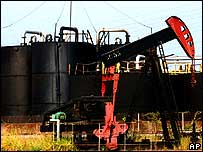 Oil pump at Lagunillas, on the west shore of Lake Maracaibo