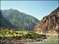 River Pyandzh which divides Tajik and Afghanistan
