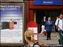Commuters are warned to keep their bags with them as they exit the Belsize Park tube station on Friday