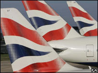 British Airways aeroplanes' tailfins