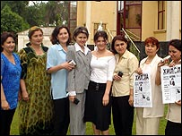 Group of eight journalism trainees in Dushanbe, capital of Tajikistan