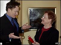 Conan O'Brien meets President Tarja Halonen