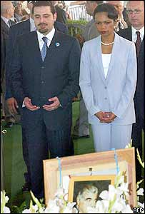 Condoleezza Rice paying tribute at the tomb of former Lebanese Prime Minister Rafik Hariri