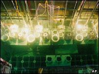 Vnitřek severokorejské elektrárny