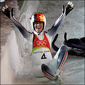 Sylve Otto celebrates her victory in the luge