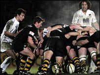 A scrum between Saracens and Wasps