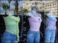 Revealing tops and jeans in a Cairo shop