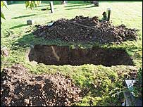 Dug up grave