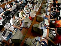 Internet cafe in Beijing - 2005