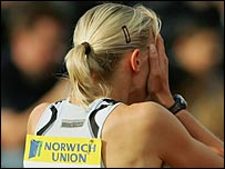 Lee McConnell reacts after failing to finish the 400m hurdles