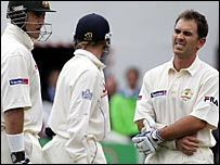Justin Langer felt the force of Steve Harmison's pace with only the second delivery