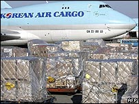 Cargo waiting to be loaded onto a Korean Air plane in Seoul