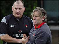 Wales coach Mike Ruddock and successor Scott Johnson