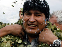 Bolivian President Evo Morales wears wreaths of coca leaves during a visit to the coco-growing region of Chapare - File photo