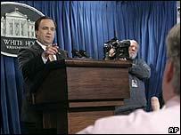 White House spokesman Scott McClellan briefs the press on 14 February