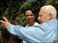 Condoleezza Rice and Ariel Sharon