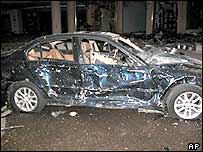 Car destroyed by blast