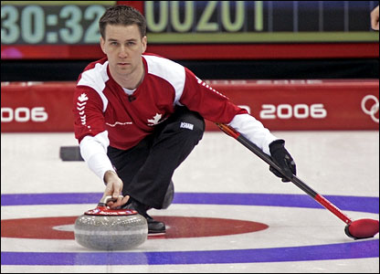 Canada's Brad Gushue in action against Great Britain