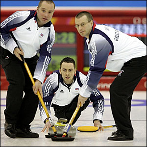 Great Britain curlers (l-r) Euan Byers, David Murdoch and Warwick Smith