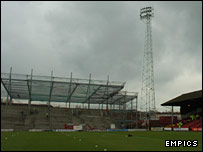 Millmoor's new main stand, pictured in December 2005