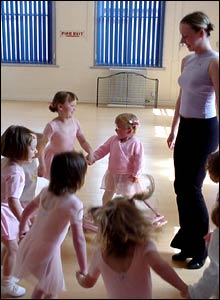 Photo of Tilly Griffiths and a group of other girls in ballet class.