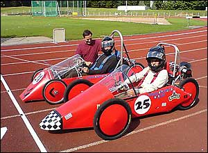 Photo of the Green Power car on the track