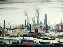 A Riverbank, by LS Lowry - copyright Bury Museum and Art Gallery