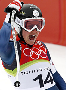 Chemmy Alcott is delighted with her downhill run