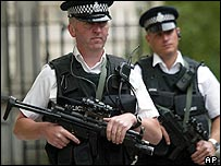 Armed police patrol London's streets