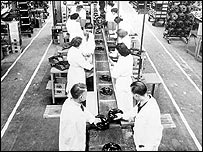 Brake assembly line at AP Lockheed in 1947