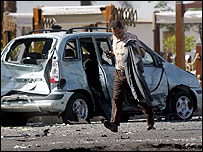 Vehicle destroyed by blast