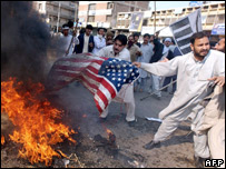Protesters burn American flags in Peshawar
