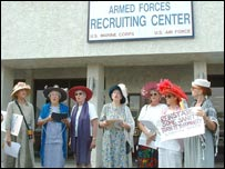 Raging Grannies outside Tucson recruitment centre - courtesy of Indymedia