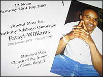 Mr Fatayi-Williams' funeral service