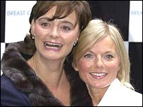 Cherie Blair and singer Geri Halliwell at the official launch of Breast Cancer Cares Awareness Month , in London in September, 2001