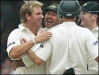 Warne took three wickets on the third evening