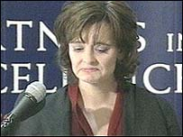 Cherie Blair making a statement in December 2002