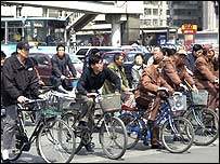 Bikes at busy Beijing intersection