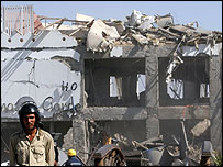 The wreckage of the Ghazala Gardens hotel