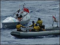 Roz Savage and crew of HMS Southampton