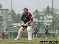 Flintoff in the nets at Mumbai