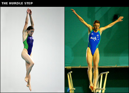Divers starting a dive using the hurdle step technique