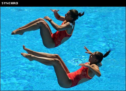 Synchronised divers in mid-air