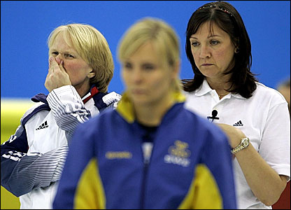 Great Britain skip Rhona Martin (left) and Jackie Lockhart (right) with Sweden's Eva Lund