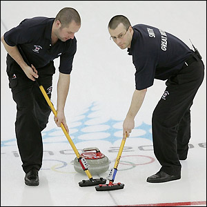 Euan Byers and Warwick Smith in action for Great Britain in the curling tournament