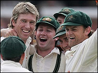 Man-of-the-match Glenn McGrath (left) celebrates Australia's win in the first Test with team-mates Ricky Ponting (far left), Michael Clarke and Adam Gilchrist
