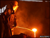 Worker at Arcelor steel plant in eastern France