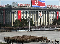 North Korean soldiers parade in Pyongyang
